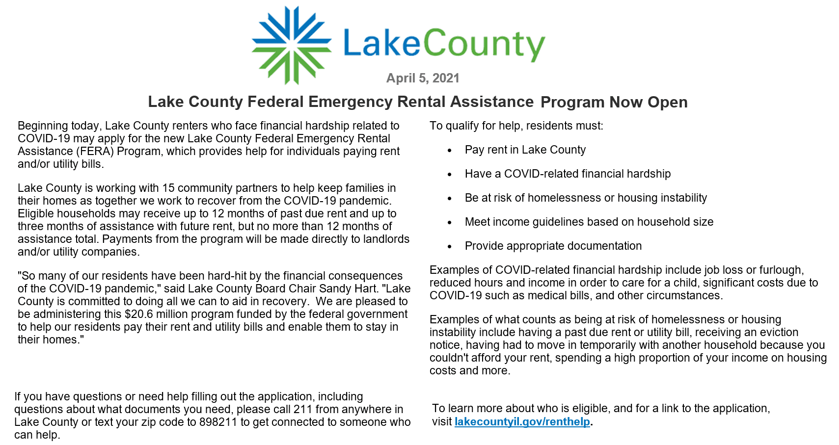 Lake County Federal Emergency Rental Assistance Program Now Open